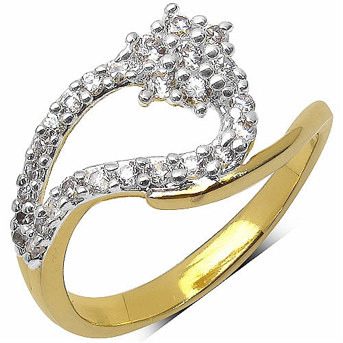 1.80 Grams White Cubic Zirconia Brass Gold Plated Ring