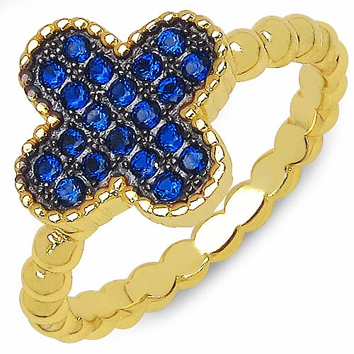 0.20CTW Blue Cubic Zirconia Gold Plated .925 Sterling Silver Ri