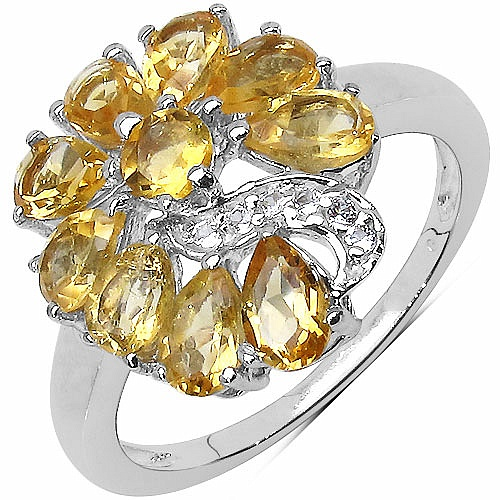 2.02CTW Citrine & White Cubic Zirconia .925 Sterling Silver Rin