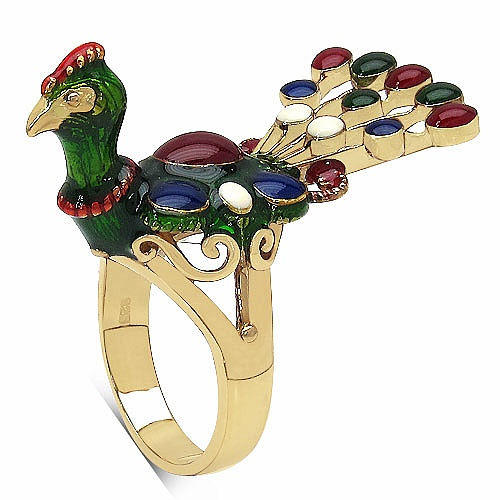 9.80 Grams Gold Plated .925 Sterling Silver Multicolor Enamel P