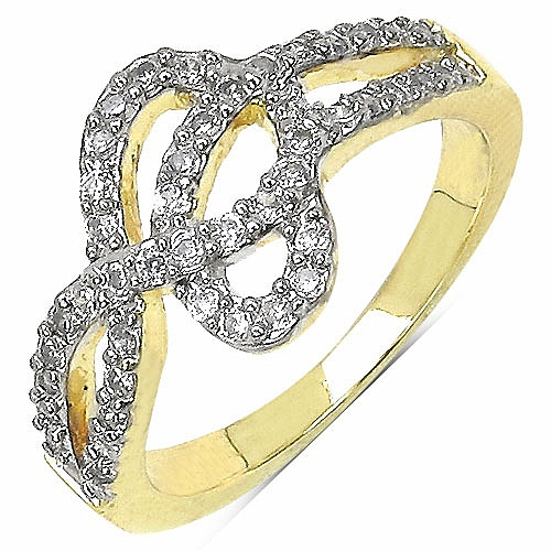 3.10 Grams White Cubic Zircon Gold Plated Brass Ring