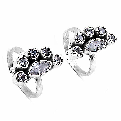 7.10 Grams White Cubic Zircon .925 Sterling Silver Toe Rings