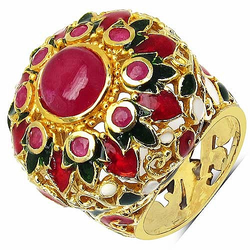 12.74 Grams Pink Glass Gold Plated .925 Sterling Silver Mult