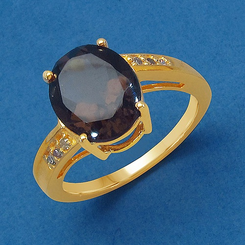 KLG Exim Genuine Smoky Topaz & White Diamond 14K Yellow Gold Plated .925 Sterling Silver Solitaire Ring