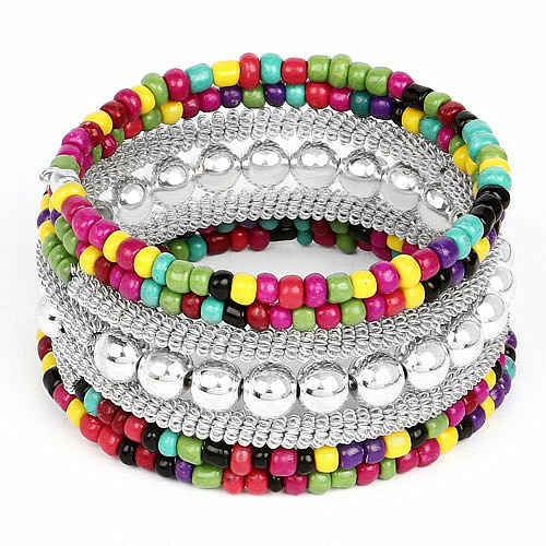 Contemporary Silver Plated Multi Colour Beads Adjustable Wra
