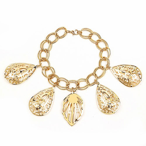 Chunky White Color Stone Leaf And Pear Shape Bracelet For Wo