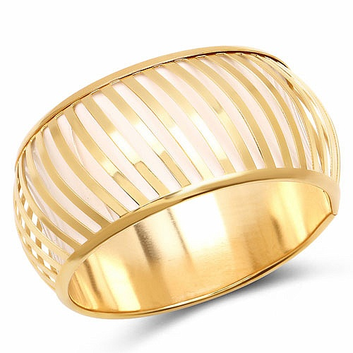 White And Gold Toned Incredible Bangle For Women