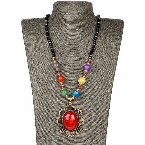 Oxidized Gold Plated Tribal Style Multicolor Fashion Necklace F