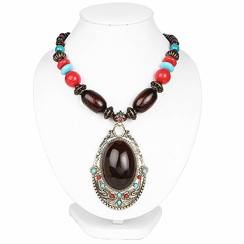 Oxidized Gold Plated Tribal Style Multicolor Beaded Fashion Nec