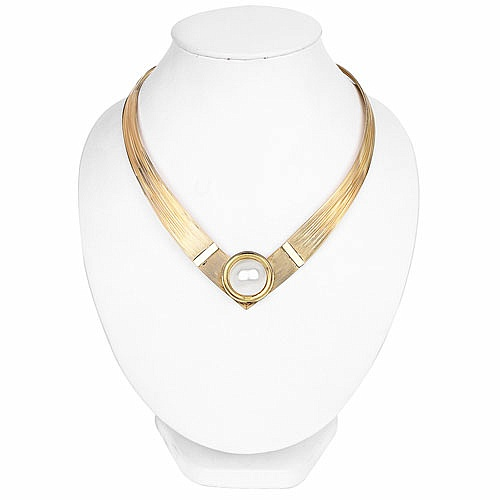 Contemperory Gold Plated Statement Choker Necklace with Pear