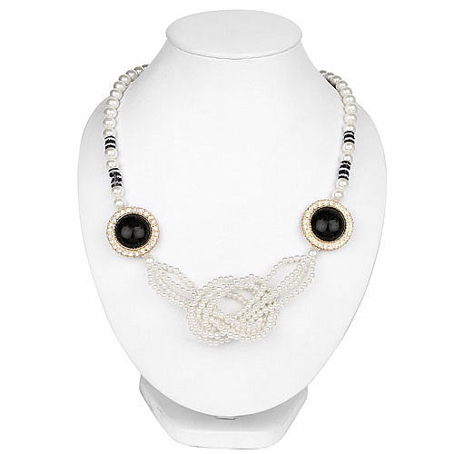 Traditional Gold Plated White Pearl Knotted Fashion Necklace