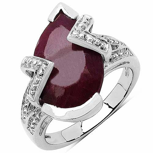 5.00CTW 14x9mm Pear Shape Dyed Ruby .925 Sterling Silver Sol