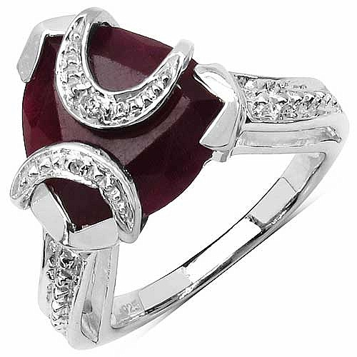 4.25CTW 11.00mm Trillion Shape Dyed Ruby .925 Sterling Silve