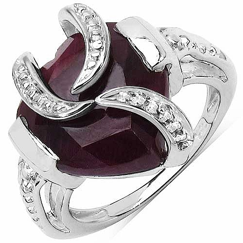 5.00CTW 12.00mm Heart Shape Dyed Ruby .925 Sterling Silver S