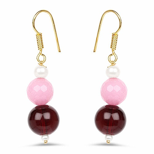 Pink Glass & Maroon Gold Plated Brass Pearl Dangle Earrings