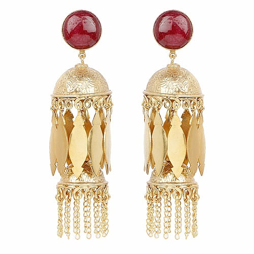Gold Plated Red Ruby Studded Fashion Jhumki Earrings for Wom