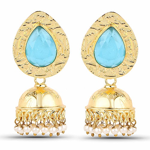 Gold Plated Blue Stone Studded Ethnic Pearl Drop Jhumka for