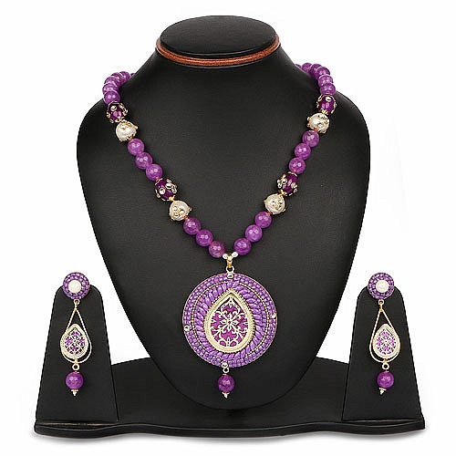 Purple Stone, White Synthetic Pearl & Polki Gold Plated Bras