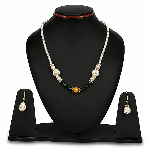 Multistone Gold Plated Brass Pearl Necklace Set