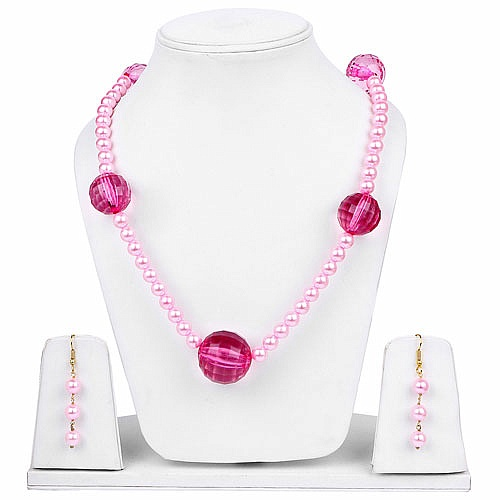 Designer Gold Plated Necklace Set For Women Studded With Pea