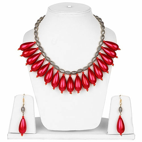 Designer Gold Plated Necklace Set For Women Studded With Pin