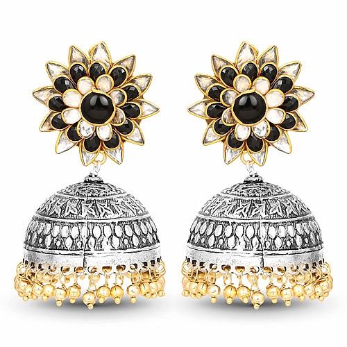 Designer Two Tone Floral Shape Pacchi Earrings For Women