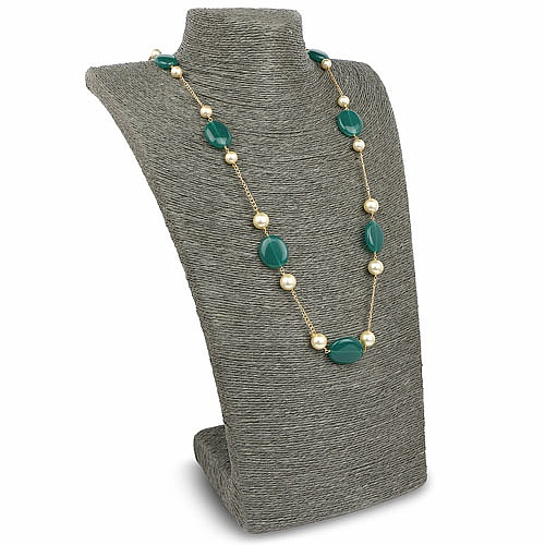 Fashion Statement Gold Plated Green Glass & Pearl Necklace f