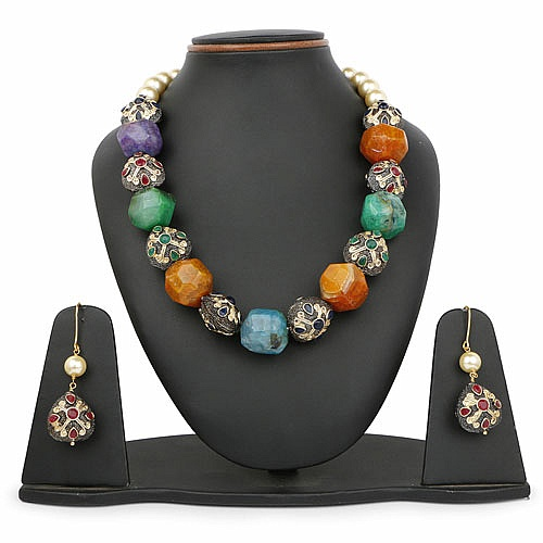 Gold Plated Multicolour Statement Style Pearl Necklace and E