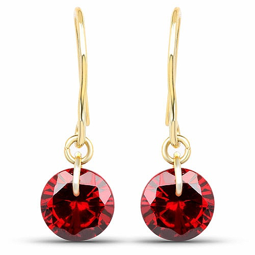 Designer Gold Plated Red Cubic Zirconia Stone Earrings