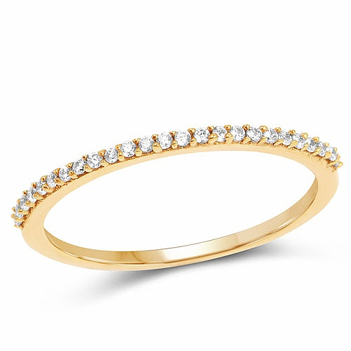 Designer Gold Plated White Cubic Zirconia Stone Eternity Eng
