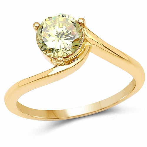 Designer Gold Plated Studded Lemon Cubic Zirconia Stone Ring