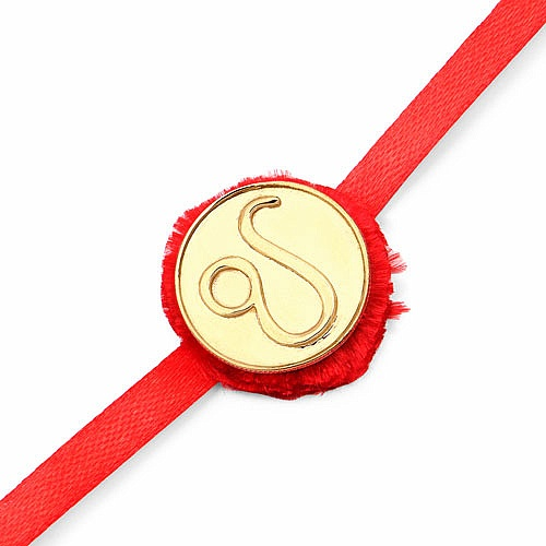 INDIAN TOUCH Gold Plated Brass Zodiac Symbol for Leo Embossed C