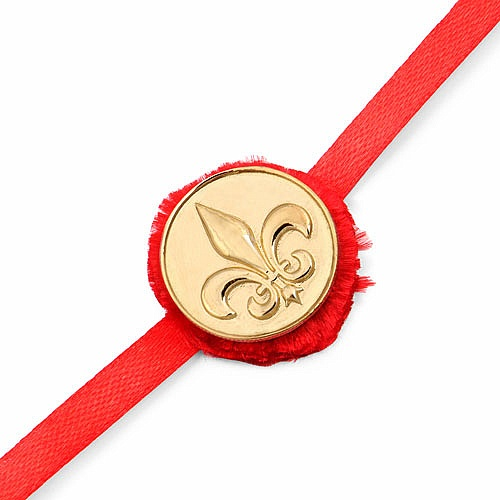 INDIAN TOUCH Gold Plated Brass Scout Logo Embossed Coin Rakhi