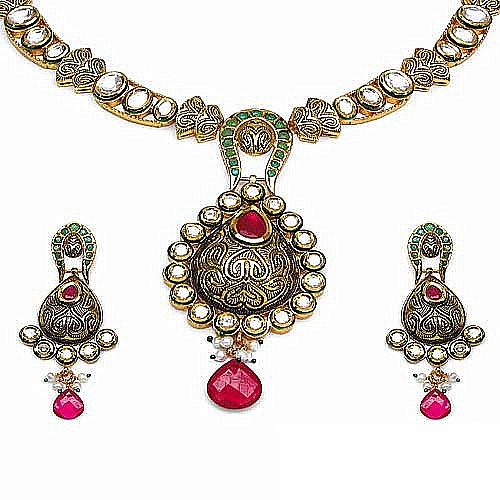 102.20 Grams Red, Green Glass & Cubic Zirconia Polki Red, Green