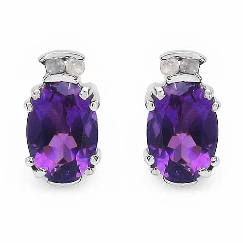 1.74CTW Genuine Amethyst & White Diamond .925 Sterling Silve