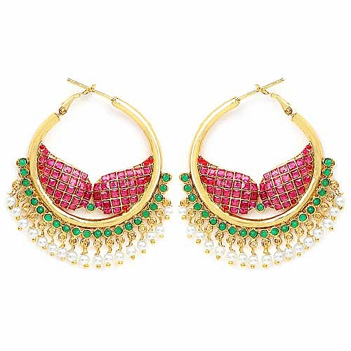 Johareez Multistone Gold Plated   Earrings
