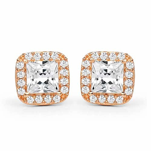 White Cubic Zirconia Rose Gold Plated Brass Earrings