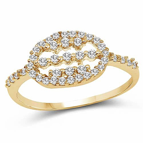 1.63 Grams White Cubic Zirconia Gold Plated Brass Ring