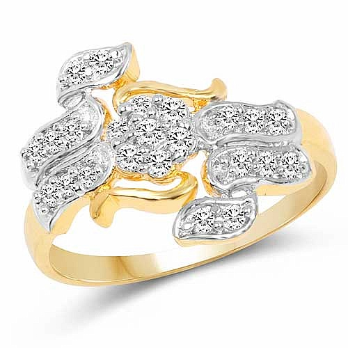 1.72 Grams White Cubic Zirconia Gold Plated Brass Ring