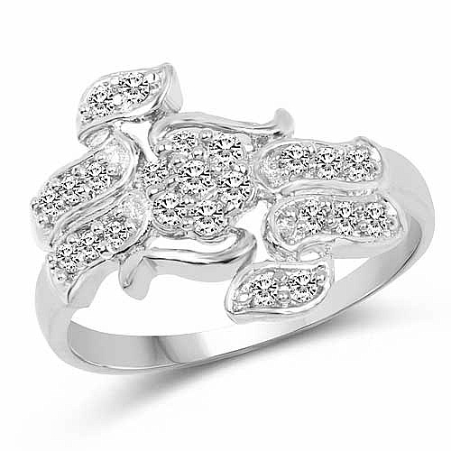 1.68 Grams White Cubic Zirconia Rhodium Plated Brass Ring