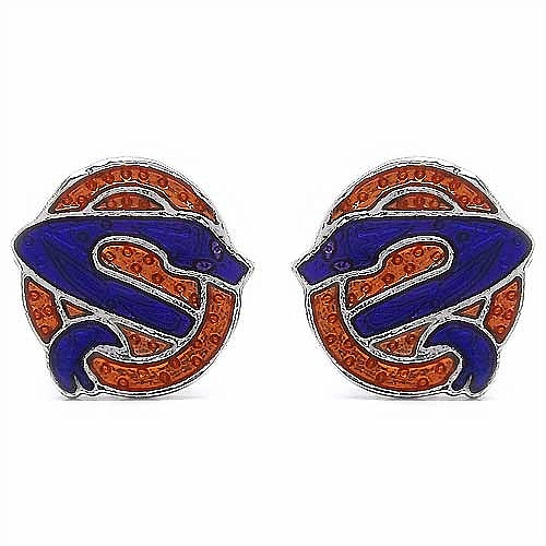 6.90 Grams Snake Shape Purple & Brown Enamel Cufflinks