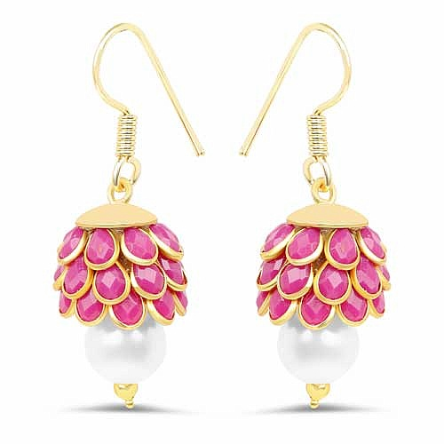Pink Stone & White Synthetic Pearl Gold Plated Brass Pacchi